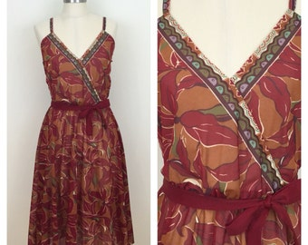 70s Dark Red Floral Sheer A-line Faux Wrap Dress, Midi Dress, Sun Dress, Size XS to Small