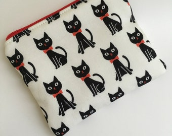 Black Cat Zipper Pouch, Black Cat Coin Purse, Cat Zipper Bag, Cat Wallet, Cat Money Holder