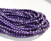 Metallic Suede Purple 4mm Faceted Fire Polish Rounc Czech Glass Beads  50
