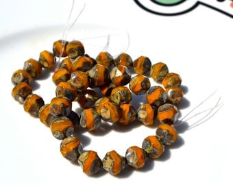 Goldenrod 10mm Rough Cut Czech Glass Round Beads  15