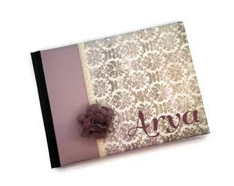 Purple Lavender Damask and Lace Baby Book Arya Landscape Orientation