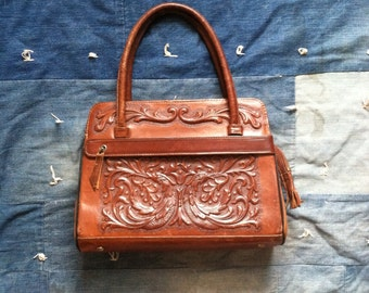 Vintage Bird of Paradise Hand Tooled Leather Purse