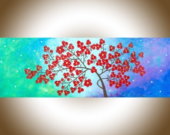 """Acrylic Painting Red Flowers Tree wall art wall decor Palette Knife Painting""""Fleur de Nebula"""" by qiqigallery"""