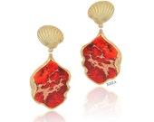 Stone statement earrings | Coral statement Earrings | Statement Earrings | Coral stone earrings | Sea shell earrings | sea shell jewelry