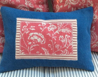 CottaGe Denim Down 16x12 Pillow/FReNch TiCKiNG/Shabby Chic/Lumbar/Blue/Red/Toile