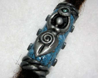 Goddess Symbol  Dread Bead  Faux Turquoise You May Choose Hole Size