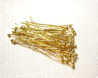 50% Off Head Pins 50 pcs Gold Plated Brass Ball Tip Head Pins 38mm 24ga 1.5inch Ball Pins HP1016 D16