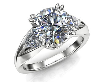 2 Carat White Sapphire Engagement Ring, Split Band, Round with Pear Accents