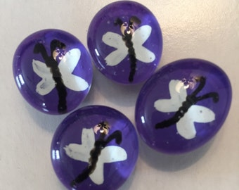 Dragonfly  dragonflies  Hand Painted glass gem magnets party favors