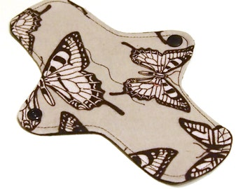 Reusable Cloth winged ULTRATHIN Pantyliner - 8 Inch - Grey Butterfly - Cotton Flannel top