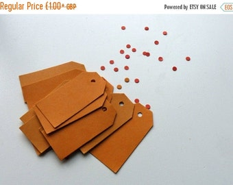 SUMMER SALE Orange thick card price tags hang tags 2 x 1 inches