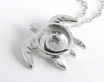 Sea Turtle Pendant - Sea Turtle Necklace - Handcrafted Swirl Turtle Sterling Silver Jewelry - Turtle Totem Petroglyph - Ocean Inspired