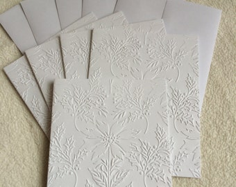 Embossed Christmas Note Cards...Set of 5 Very Elegant Poinsettia Embossed Christmas Note Cards with Envelopes