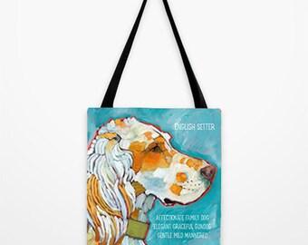 English Setter tote bag, english setter home decor, orange belton canvas tote, llewelyn setter tote bag, dog art handbag