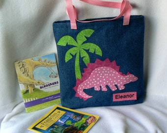 Kids Tote Bag Dinosaur|Personalized Tote Bag|Gift For Grand Kids|Gift For Niece|Toddler Tote|Christmas Gift Tote