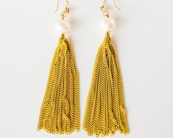 White pearl, yellow and copper chain tassel fringe dangle earrings