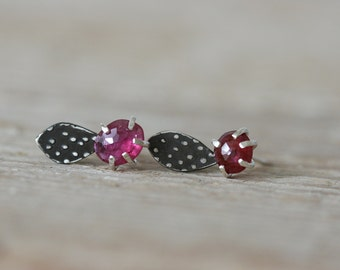 Pink Ruby Form Studs