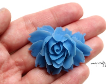 2pc blue rose bloom flower cabochons / flat back resin flower embellishment / detailed resin rose cab / diy jewelry pendants bridal