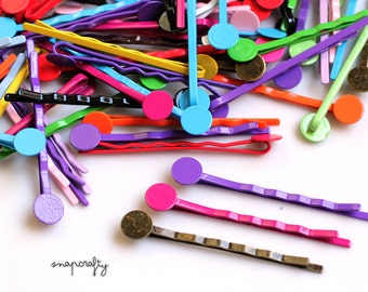 50pc hair pin blanks / colorful bobby pins in 16 colors / lead free hairpin base / 8mm glue pad / diy hair clip / wholesale mix