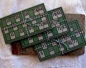 Gorgeous, Green Vintage Lotto/Bingo Cards (4)