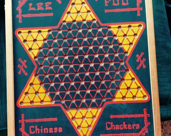 VINTAGE GAMEBOARD, Chinese Checkers, rummy, double sided, mid century, wall decor