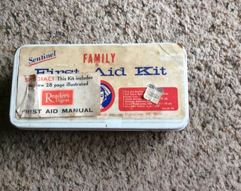 VINTAGE FIRSTAID KIT,  first aid, nurse, family, mid century, emergency, injury, retro, U S A made