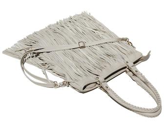 Cream Ivory Leather Fringe Shoulder Bag / Hand Bag