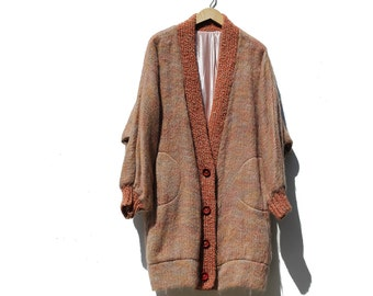 Rust Brown Wool Mohair Oversized Cardigan Sweater Coat