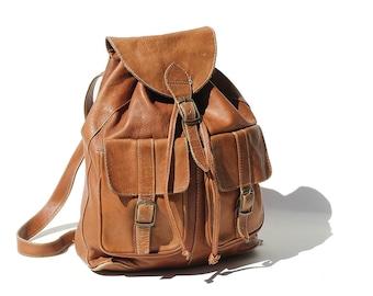Vintage Brentwood Brown Leather Backpack Bag