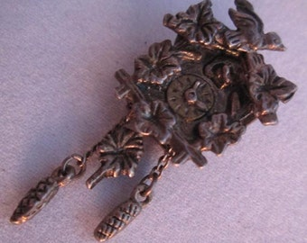 Vintage Black Forest Cuckoo Clock Silver Charm - Highly Detailed Clock Charm - Movable Pendulum - Charm or Pendant