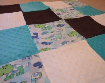 Extra Soft Minky, Fleece, and Suede Reversible Quilt Square Baby Blanket