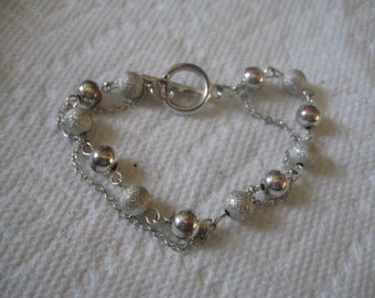 Vintage Sterling Bead Ball Bracelet with Additional Chain 925 Toggle Clasp
