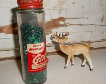 Vintage Glitter Art Glitter, Vintage Christmas Glitter, Green Glitter