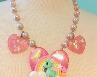 Pegasus Rainbow Holographic Big Pink Heart And Bows Beaded Statement Necklace