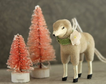 Vintage Putz Style Wooly Lamb Spring Easter Ornament with Vintage Velvet Flower