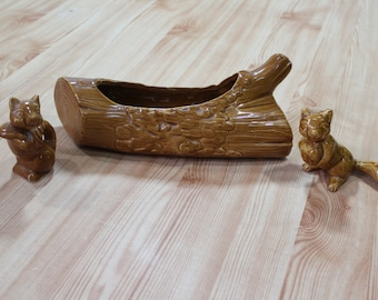 Vintage 60's Mid Century Squirrel Wood Log Planter and Figurines