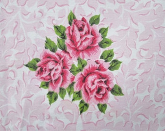 Vintage Tablecloth Broderie Pink Printed Cameo Roses Acanthus Leaves Vintage Linens Mid Century Kitchen Textiles Shabby Cottage Chic Decor