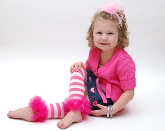 Pink Striped ruffle tutu leg warmers, Tutu Leggings, Perfect for your Birthday party, photo prop, costume