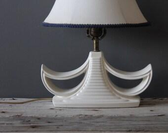 White Ceramic Pagoda Midcentury Lamp