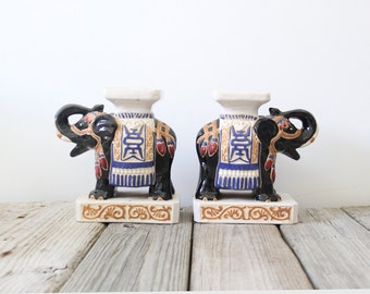 Pair of Ceramic Elephant Bookends / Pedestal Plant Stands