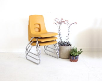Midcentury Yellow Desk School Kids Chair (4 Available)