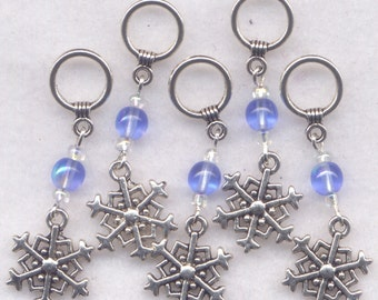 Snowflake Knitting Stitch Markers Snowflakes Snow Sparkle Blue Set of 5 /SM09A