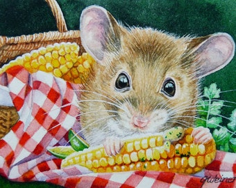 Summer Picnic Mouse Sweet Corn Limited Edition ACEO Giclee Print reproduced from the Original Watercolor