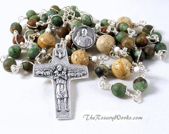 Pope Francis Rosary Good Shepherd Matte Opal Picture Jasper Aqua Turquoise Tan Brown Wire Wrapped Unbreakable Prayer Beads