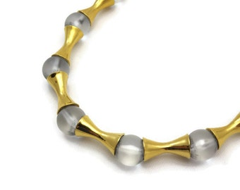 Frosted Glass and Gold Bead Necklace - MMA, Costume Jewelry, Original Box