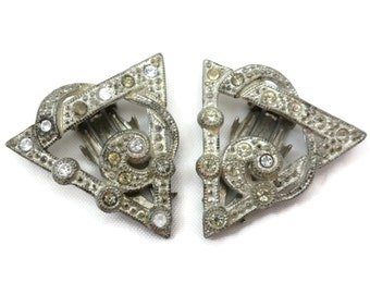 Art Deco Dress Clips - Rhinestones 1940s Costume Jewelry, Pair Set of Two