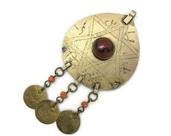 Boho Pendant Necklace - Agate, 1960s 1970s, Fringe, Coins