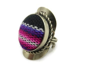 Boho Statement Ring - Woven Fabric Tribal, Adjustable, Pink Purple Black White Stripe