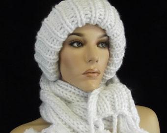Hand Knit White Hat, Toboggan Set, Women's Accessories, White Scarf,Knit Scarf,Hats, Scarves,Ski Hat,Winter Hat,Snowballs,Knit Hat