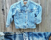 Vintage Kids LEVI'S Denim Jacket  // Vtg 90s Made in the USA White Tab Faded Childs Denim Jacket  // unisex childrens size 4/5/6 years